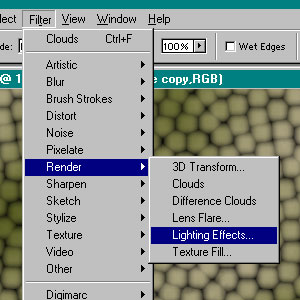 render lighting effects on first copy - click to see settings